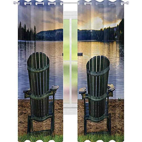 """YUAZHOQI Seaside Room Darkening Window Curtains Two Wooden Chairs on Relaxing Lakeside at Sunset Algonquin Provincial Park Canada 52"""" x 108"""" Curtains for French Doors Navy Green"""