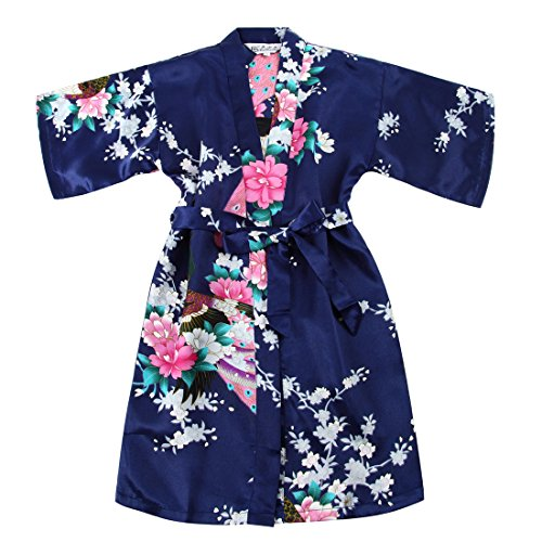 Faybox Bridal Girls' Satin Kimono Robe
