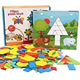 FunnyGoo 250 Piezas de Desarrollo de la Inteligencia para niños DIY Rompecabezas Tangram Rompecabezas de Madera Juguetes educativos con 15 Piezas de Tarjetas Flash