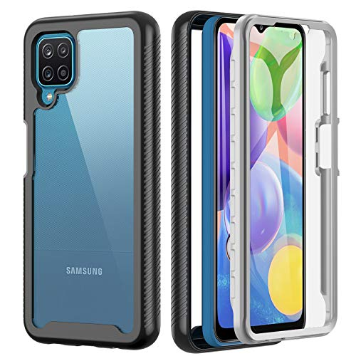 Kuaguozhe Hülle kompatibel mit Samsung Galaxy A12 M12, 360 Grad Stoßfest Handyhülle Silikon Bumper Cover mit Integriertem Bildschirmschutz, PC & TPU Schutzhülle Hülle für Samsung A12 M12 Schwarz,Klar