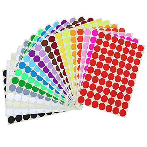 """Circle Dot Stickers, 1400 PCS 3/4"""" Round 20 Assorted Colors Code Polka Dot Stickers, Round Color Coding Dots Circle Coding Labels Stickers Labels for Office Classroom, 20 Sheets (1#)"""