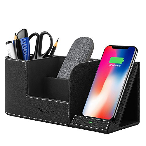 EasyAcc 10W Fast Wireless Charger Organizer Für Mate 20 Pro, iPhone XS MAX XR 8 Plus, S10 S8 S9 Plus S7 Edge Note 8 Und Anderen Qi-Fähigen Geräte, Qi Ladegerät Induktive Ldestation Stiftehalter