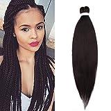 65cm Extensiones de Pelo Sintético para Trenzas Africanas Braiding Twist Crochet Hair (1PCS,Negro...