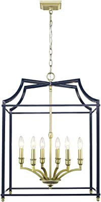 Golden Lighting 8401-6P SB-NVY Six Light Pendant, Gold/Navy Blue