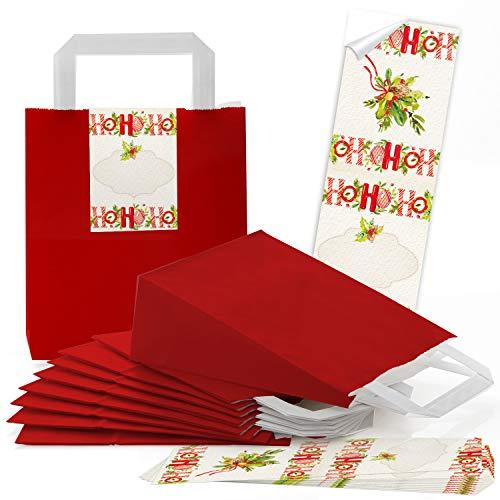 Logbuch-Verlag 10 kleine rote Geschenktüten Papiertragetaschen Weihnachten HOHOHO zum Verpacken von Weihnachtsgeschenken an Kunden Mitarbeiter Kunden