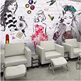 Weaeo Acuarela Ladrillo De Fondo Chica Hermosa Papel Tapiz Mural Murales De Pared Tatuajes De Pared Papel De Pared 3D Para Tienda De Cosméticos Tienda De Belleza-400X280Cm