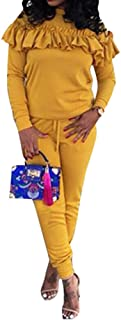 Women's 2 Pieces Outfits Ruffled Sweatshirt + Long Pants Sweatsuits Set Tracksuits