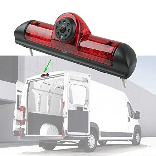 Rückfahrkamera Transporter Fiat Ducato, Peugeot Boxer Citroen Jumper ab Baujahr Bj 09/2006 bis 2016 IR Nachtsicht 10 Meter Kabel NTSC für Monitor Rückahrsystem RCA Cinch 4PIN 4 Pin  YMPA RFK-FIPECI