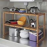 HUIJ sous évier étagère etagère de Rangement Cuisine Etagère de 2 étages en Acier Inoxydable...