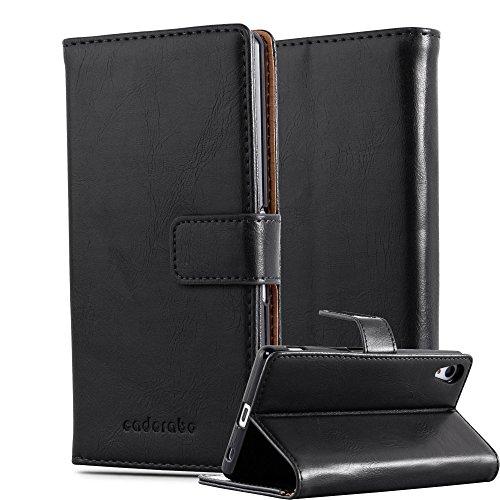 Cadorabo Hülle für Sony Xperia Z4 in Graphit SCHWARZ – Handyhülle mit Magnetverschluss, Standfunktion & Kartenfach – Hülle Cover Schutzhülle Etui Tasche Book Klapp Style