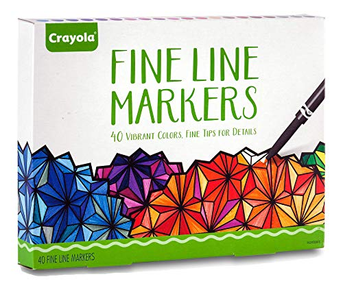 Crayola Fine Line Markers Adult Coloring Set, Mothers Day Decorations, Gift, 40 Count