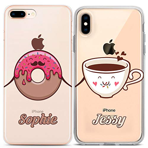 Lex Altern Couple Cases Compatible with iPhone 12 Pro Max 11 Mini SE Xr Xs 8 Plus 7 6 TPU Matching Custom Clear Kawaii Pink Doughnut Cute BFF Protective Girl Cover Anniversary Personalized Silicone
