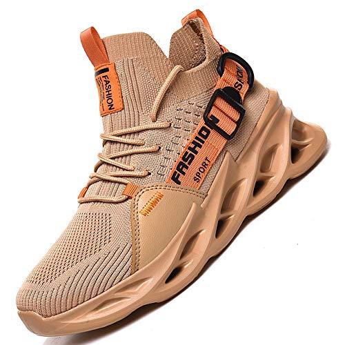 AARDIMI Herren Laufschuhe Fitness straßenlaufschuhe Sneaker Sportschuhe atmungsaktiv Anti-Rutsche Gym Fitness Schuhe (Khaki, Numeric_43)