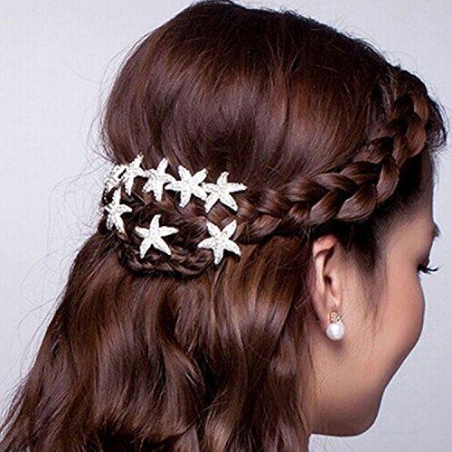 Musuntas 6er Set wunderschöne weiß Haarnadeln Haarspiralen Curlies süße Stern Seestern mit Perlen Strass, Braut Hochzeit Haarschmuck