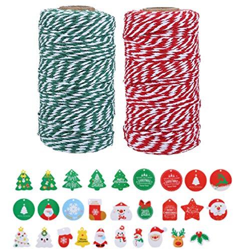 Naler 2 Rolle Baumwollschnur Bäckergarn Rot Weiß Bastelschnur mit Geschenkanhänger Weihnachten Bakers Twine Schnur Kordel für Geschenkverpackung Adventskalender Basteln
