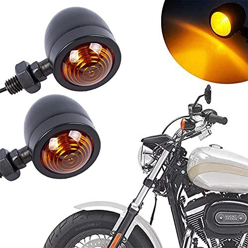 Motorrad Blinker Lichter, 12V Mini Blinker, Motorrad Schwarz Bullet Blinker, 2 Stück Universal Blinker Wasserdicht Tagfahrlicht Microblinker für Streetbike Cruiser und Chopper Dirt Bike Scooter