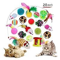 SUBTLE 20点セット 猫のおもちゃ 猫のネズミのおもちゃ 羽根のおもちゃ 猫じゃらし ストレス解消 運動不足対策 ボール 鈴付き レーニング 猫遊び用 ペット用品