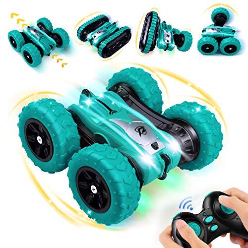 Ferngesteuertes Auto, 2 in1 Fernsteuerung Spielzeugauto Austauschbarer Doppelseitige, Wiederaufladbar RC Stunt Auto mit 360° Rotation und 180° Flip, Geschenk für Kinder Jungen Mädchen(Grün)