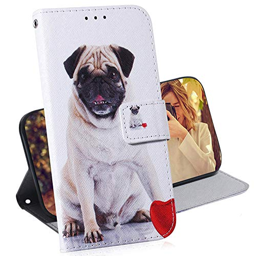 EMAXELER Galaxy A20 Case Cover Shockproof Stylish PU Leather Flip Folio Bookstyle Slim Wallet Protection Case Magnetic Stand Card Slot Case for Samsung Galaxy A30 / A20 TXC Pug