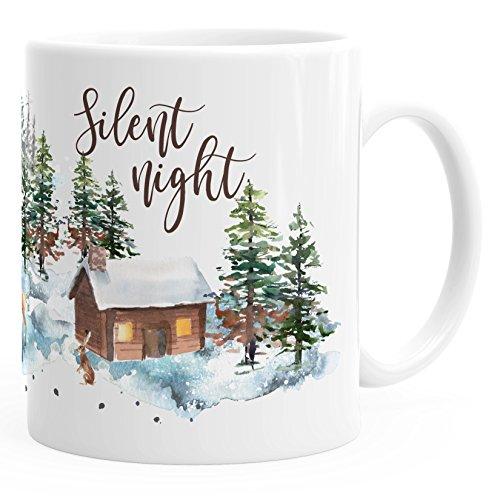 Autiga Kaffee-Tasse Weihnachten Winter Schnee Silent Night Christmas Weihnachts-TASE Kaffeetasse Teetasse Keramiktasse weiß Unisize