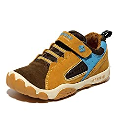 Comfy kids hiking running walking sneaker selects unique suede leather material, more durable, more waterproof, more comfortable, together with skin friendly textile lining, more breathable comparing with other common lining If you are not sure about...