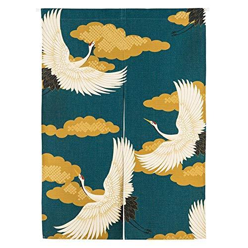 Eastery Noren Japonés Cortina Puerta Cortina Tapiz Insecto Volador Cortina De Estilo Simple Habitación Hokusai Ukiyoe 85X90Cm (Color : Kran, Size : 85 * 120Cm)