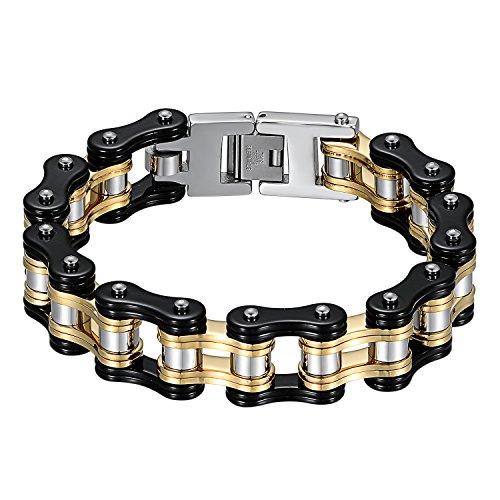 JewelryWe Schmuck Herren Biker Kette Armband, Groß Schwer DREI Töne Hochglanz Poliert Fahrradkette Motorradkette Armkette Armreif aus Edelstahl, Schwarz Gold Silber