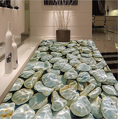 Pmhc fotobehang modern 3D pebbles water golven vloer tegels schilderen wandschilderijen stickers woonkamer PVC waterdicht slijtage behang 3 D 250 cm x 175 cm.