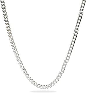 قلادة سلسلة من الفضة الاسترلينية إكس فلات كرب من سلسلة المجوهرات الإيطالية للنساء والرجال، 7.2-9.6 مم سمك 60-71.12 سم الطول