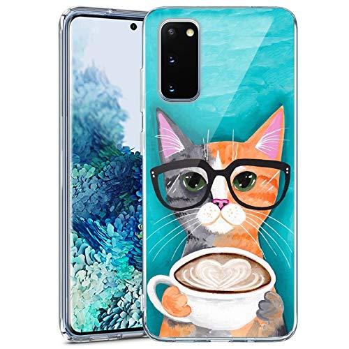 Samsung Galaxy S20 FE 5G Clear Case Custom Personality Pattern TPU Cover Case Slim Flexible Full Body Protective Cover Case for Samsung Galaxy S20 FE 5G (Glasses Cat)
