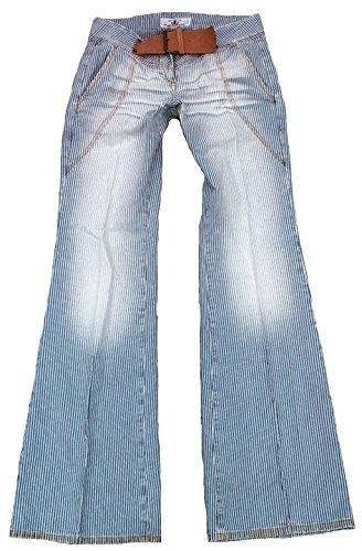 Fornarina Damen Jeans Blau Weiss Model BITTER Hammer Designer Streifen Bootcut Schlag Hose Schlaghose Schlagjeans 27/34 W27 L34