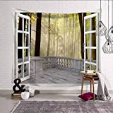 Shentop Psychedelic 3D Finestra arazzo di Montagna dormitorio Decorazione Hippie arazzo Appeso a Parete Tende Paesaggio Arte Sfondo Muro Tappeto arazzo da casa e Giardino Color7 150X200CM
