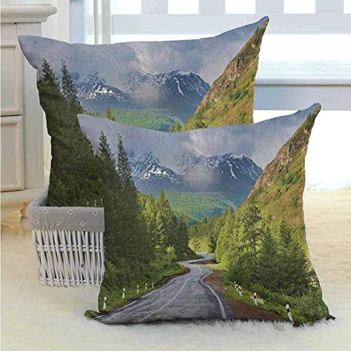 ROSECNY Linen Throw Pillows Decor Bed Couch Sofa Pillows - Indoor Decorative Cushion - Mountain Road Landscape Square Pillows Set Of 2 45X45 Cm