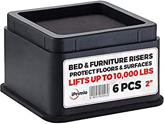 "iPrimio Bed and Furniture Risers – 6 Pack Square Elevator up to 2"" Per Riser and Lifts up to 10,000 LBs - Protect Floors and Surfaces – Durable ABS Plastic and Anti Slip Foam Grip – Stackable – Black"