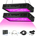 Missyee 2 Pack 1200W LED Plant Grow Light with Thermometer Humidity Monitor, Adjustable Rope, Full Spectrum Double Switch Plant Light for Indoor Plants Veg and Flower - 1200W (10W LEDs 120Pcs)