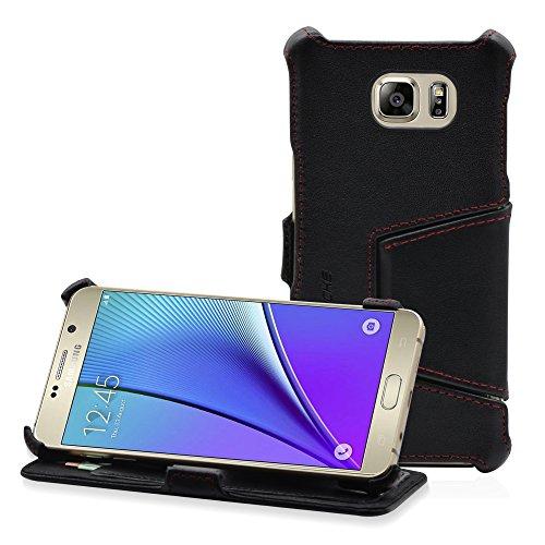 Manna UltraSlim Hülle für Samsung Galaxy Note 5   Leder   Kartenfach   Aufstellbares Hülle   Easy Stand   Microvlies gepolstert   Nappaleder schwarz, Naht