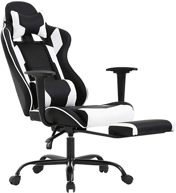 BestOffice Ergonomic Office Chair PC Gaming Chair Cheap Desk Chair Executive PU Leather Computer Chair Lumbar Support With Footrest Modern Task Rolling Swivel Chair For Women Men White