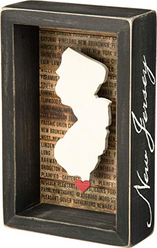 Primitives by Kathy 27795 Wanderlust Box Sign, 4.5 x 7, New Jersey