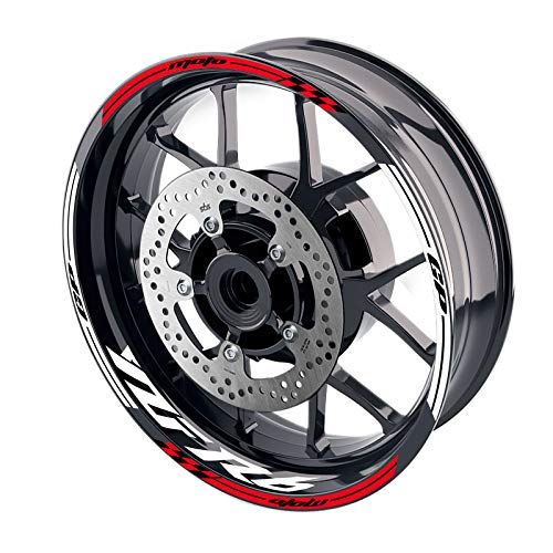 MC MOTOPARTS 17 inch Wheel Rim Stickers Decals Tape Compatible with YZF R6 99-18 09 10 11 12 13 14 15 16 17 18 (RED)