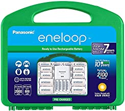 """Panasonic K-KJ75MC64ZA eneloop Power Pack 6AA, 4AAA, 4 C Adapters, 4 D Adapters, """"Advanced"""" Individual Battery Charger with USB Port and Plastic Storage Case"""