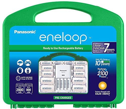 """Panasonic KKJ75MC64ZA eneloop Power Pack 6AA 4AAA 4 C Adapters 4 D Adapters """"Advanced"""" Individual Battery Charger with USB Port and Plastic Storage Case"""