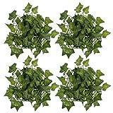 DOITOOL 4 Piezas de Hiedra Artificial Guirnalda de Vid Hiedra Falsa Hojas Decoración Planta Colgante Vid para El Banquete de Boda Jardín Exterior Verde Decoración de La Pared
