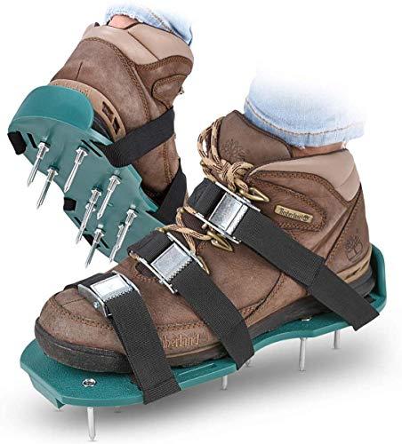YHX Rasenlüfter Schuhe, Rasenbelüfter Rasen Vertikutierer Mit 3 Verstellbare Gurte Und Metal,Universalgröße Passt Schuhe Oder Stiefel Für Rasen Hof