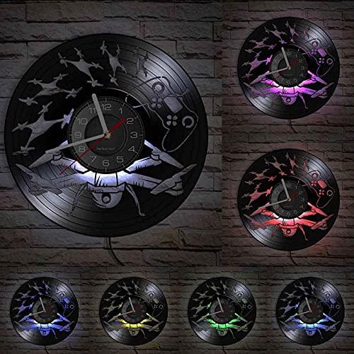 MASERTT Modello Aereo Volante Droni Elicottero Vinile Album Record Orologio Teen Room Decor Veicolo Senza Pilota Retro Regalo-con LED