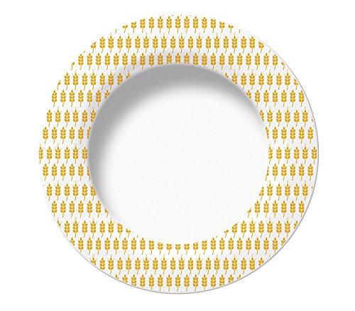 Excelsa Enjoy Assiette Creuse Epi, Porcelaine, Jaune, 22.5 x 22.5 x 3 CM