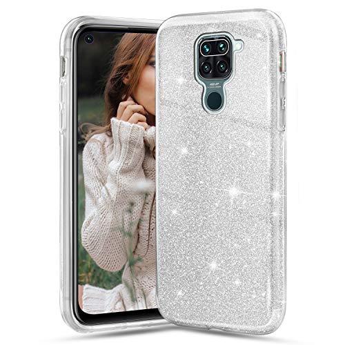 Solaxi-EU Funda para Xiaomi Redmi Note 9, Glitter Crystal Ultra Delgada Suave Silicona TPU Transparente Brillante Liquid Crystal Color Purpurina Doble Capa Anti Choques Protectora Carcasa, Pla