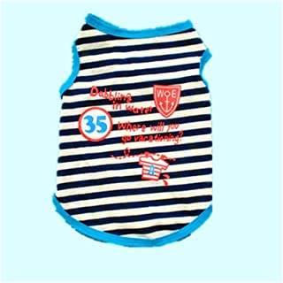 Pet Supplies Teddy Schnauzer Dog Spring and Summer Cotton Striped Vest Puppy Breathable t-Shirt (Color : Blue, Size : M)