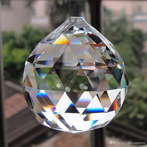 Discount4product Crystal Chandelier Parts Prisms Pendants Balls Suncatchers Garland Glass Beads Split Rings (30 Mm, Clear) -1 Pcs