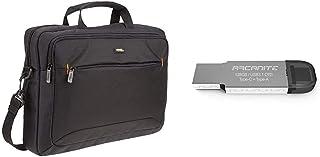 AmazonBasics Borsa a tracolla per laptop, computer e tablet da 15.6'' (40 cm), nero + ARCANITE, chiavetta USB 128 GB USB 3...