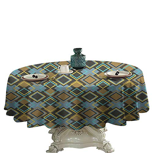 Geometric Printed Tablecloth Abstract Rhombuses with Bullseye Pattern Modern Mosaic Tile Design Vintage Theme Spill-Proof Oil-Proof Microfiber Table Cover 70 inch